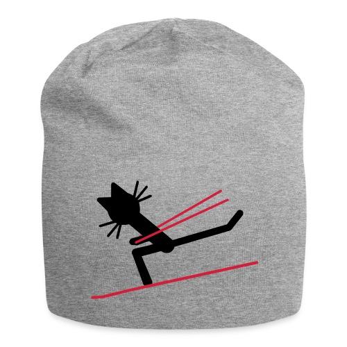 Mütze Katze Kittycat Ski fahren - Jersey-Beanie