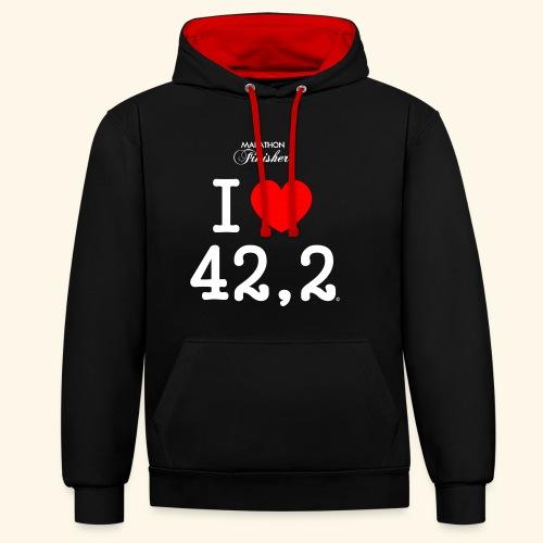 Sweat I love 42,2 - Woman & Man - Contrast Colour Hoodie