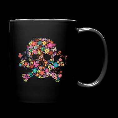 Tasse t te de mort avec des fleurs spreadshirt - Tete de mort fleur ...