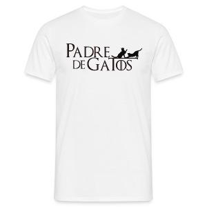Camiseta blanca Padre de Gatos - Camiseta hombre
