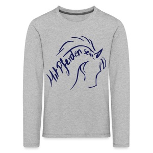 Proud Horse Teen Longsleeves (Print :Digital Dark Blue) - Kinder Premium Langarmshirt