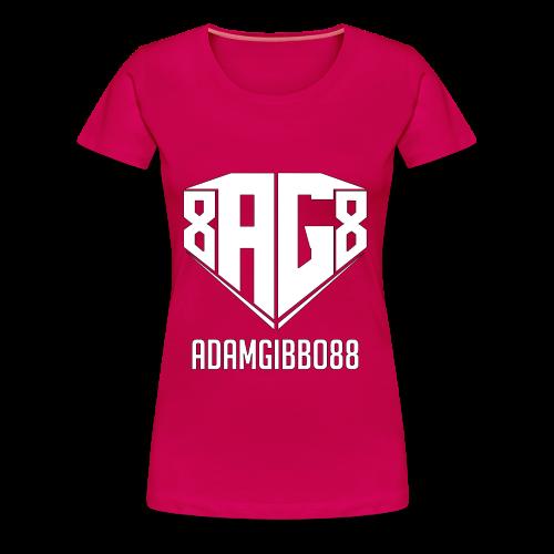 White Logo / Pink Tee - Women's Premium T-Shirt