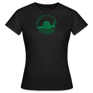 snail women's Slimfit green on black - Women's T-Shirt
