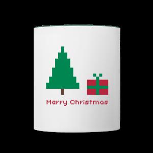 Tasse - 8 bit - merry christmas - Tasse zweifarbig