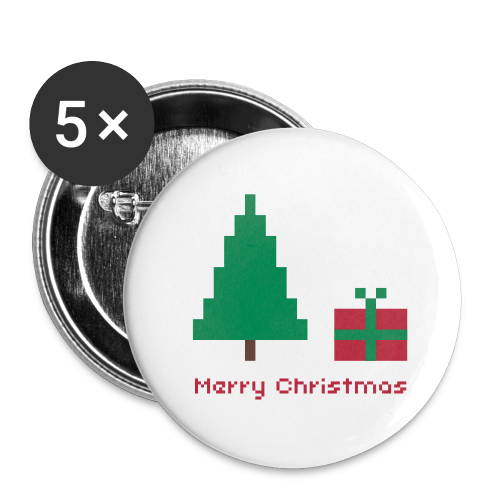 32 mm Button - 8 bit - merry christmas - Buttons mittel 32 mm
