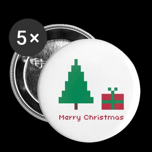 32 mm Button - 8 bit - merry christmas - Buttons mittel 32 mm (5er Pack)