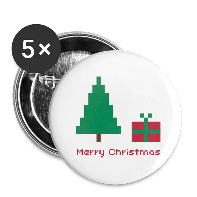 32 mm Button - 8 bit - merry christmas