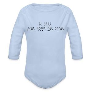 Body bébé bio manches longues - Modèle : je suis sage comme une image  Pour rappel : C'est un braille imprimé (sans le relief) A savoir : Les graphismes sont de couleurs noirs, donc privilégiez le choix des couleurs claires pour les produits