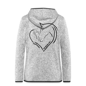 Heart, Women Fleecejacke (Print: Black Glitter) - Frauen Kapuzen-Fleecejacke