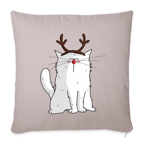 Mrou le chat Renne - Housse de coussin décorative 44x 44cm