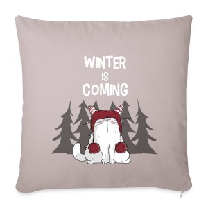 Mrou le chat Winter is coming - Housse de coussin décorative 44 x 44 cm