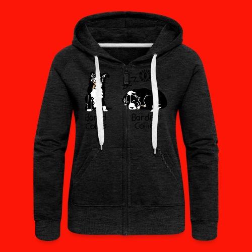 Bored Collie Border Collie Ladies Zip Hoodie - Women's Premium Hooded Jacket