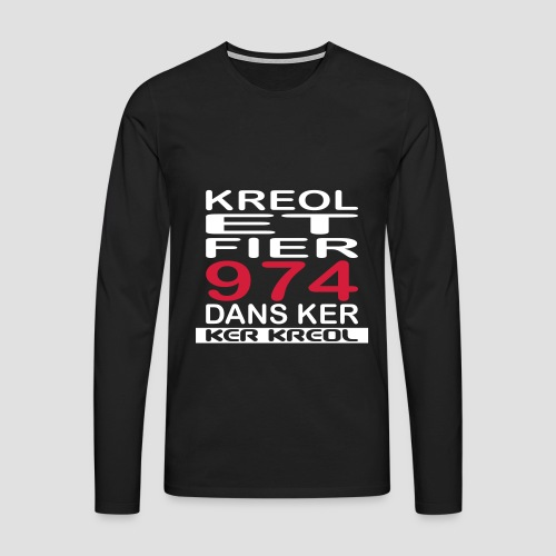Tee shirt manches mongues pour homme Kreol et Fier 974 - T-shirt manches longues Premium Homme