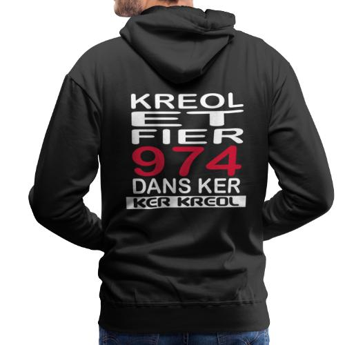 Sweat-shirt à capuche Premium pour hommes Kreol et Fier 974 - Sweat-shirt à capuche Premium pour hommes