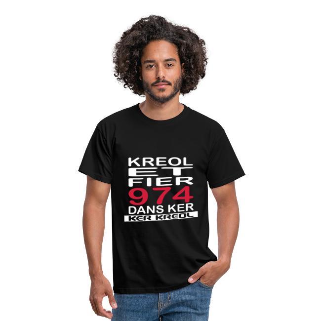 Tee shirt homme Kreol et Fier 974 dans ker - 974 Ker kreol
