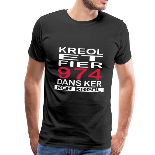 Tee shirt Premium Homme Kreol et Fier 974 - T-shirt Premium Homme