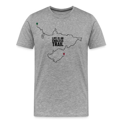T-Shirt Life is an endless Trail, grau-meliert - Männer Premium T-Shirt