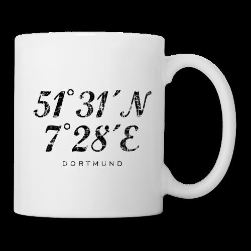 Dortmund Koordinaten Tasse (Distressed Schwarz) - Tasse