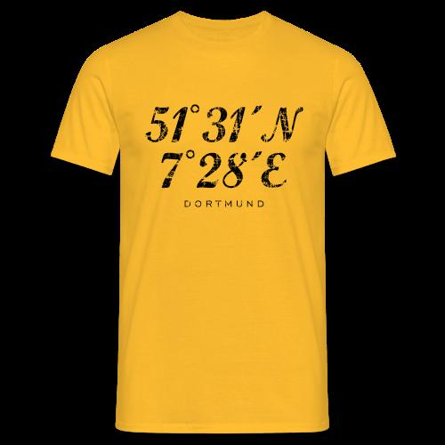 Dortmund Koordinaten T-Shirt (Distressed Schwarz) - Männer T-Shirt