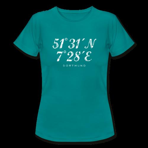 Dortmund Koordinaten T-Shirt (Distressed Weiß) - Frauen T-Shirt