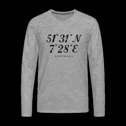 Dortmund Koordinaten Langarm T-Shirt (Distressed Schwarz) - Männer Premium Langarmshirt