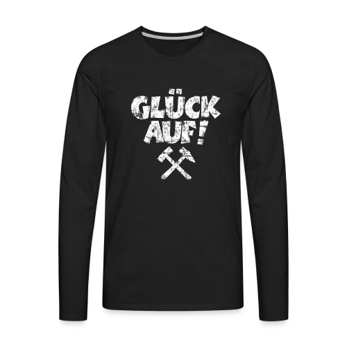 Glück Auf Ruhrpott Langarm Shirt (Distressed Weiß) - Männer Premium Langarmshirt