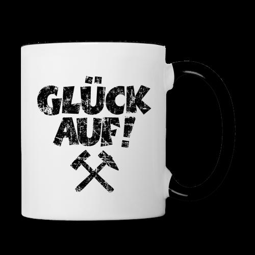 Glück Auf Ruhrpott Tasse (Distressed Schwarz) - Tasse zweifarbig