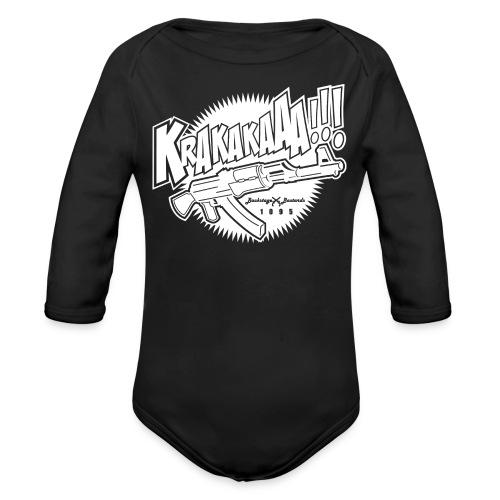Krakaka Baby Black/White - Baby bio-rompertje met lange mouwen