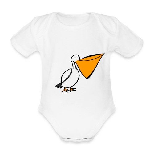 Body bébé :  Peck le pelican (blan)  - Body bébé bio manches courtes