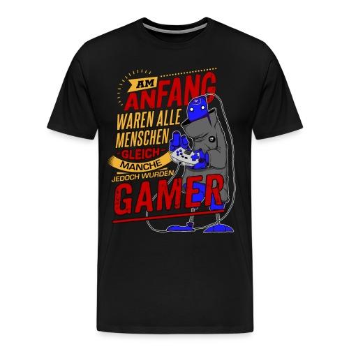 NEU Am Anfang Gamer Alien RAHMENLOS Shirt Geschenk Weihnachten - Männer Premium T-Shirt
