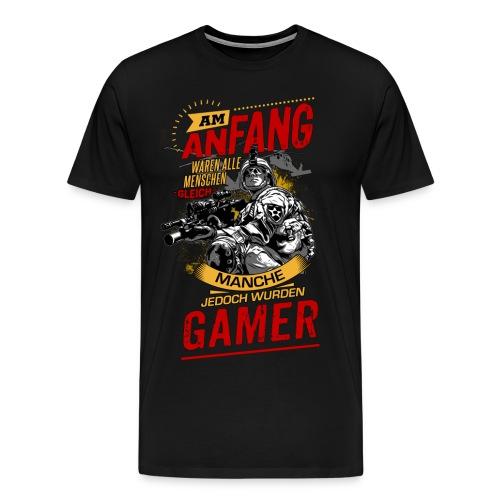 NEU Am Anfang Gamer Soldier Heli RAHMENLOS Shirt Geschenk Weihnachten - Männer Premium T-Shirt