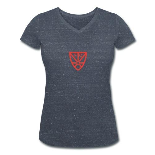 Damen T-Shirt mit V-Ausschnitt - verschiedene Farben - mit rotem FCO-Logo - Frauen Bio-T-Shirt mit V-Ausschnitt von Stanley & Stella