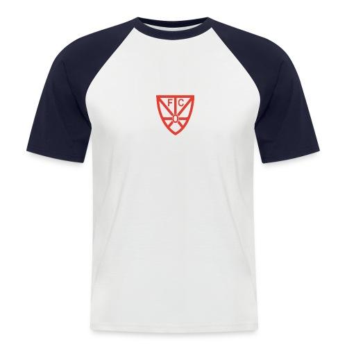 Männer Baseball T-Shirt - zweifarbig - mit rotem FCO-Logo - Männer Baseball-T-Shirt