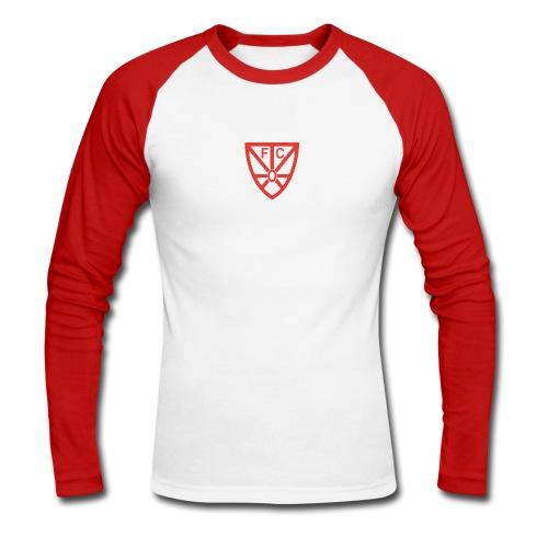 Männer langarm Baseball Shirt - zweifarbig - mit rotem FCO Logo - Männer Baseballshirt langarm