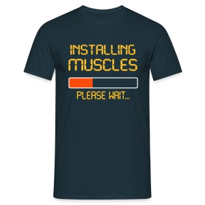 installing muscles t-shirt - Men's T-Shirt