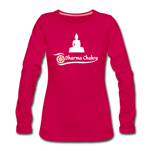 Buddha weiß / Dharmachakra - Frauen Premium Langarmshirt