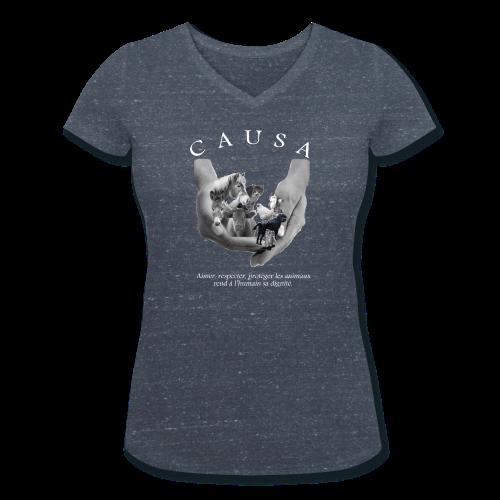 Tee shirt Femme coton bio col V marine chiné - T-shirt bio col V Stanley & Stella Femme