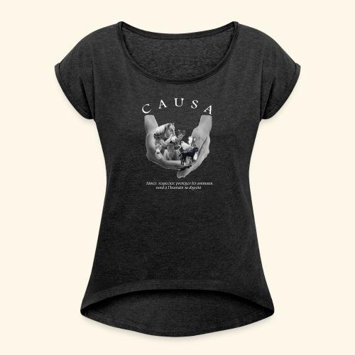 Tee shirt Femme style Boy Friend noir chiné - T-shirt à manches retroussées Femme
