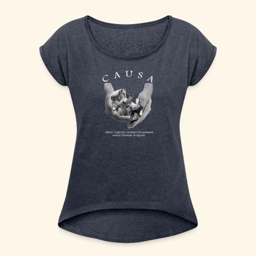 Tee shirt Femme style Boy Friend marine chiné - T-shirt à manches retroussées Femme