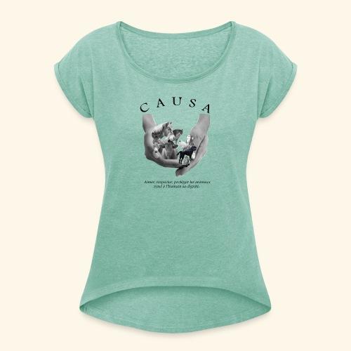 Tee shirt Femme style Boy Friend menthe chiné - T-shirt à manches retroussées Femme