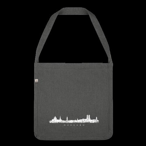 München Skyline (Vintage/Weiß) Recycling Tasche - Schultertasche aus Recycling-Material