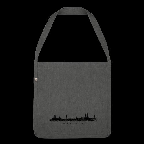 München Skyline (Vintage/Schwarz) Recycling Tasche - Schultertasche aus Recycling-Material