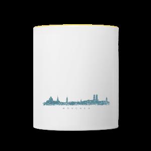 München Skyline (Vintage/Blau) Tasse - Tasse zweifarbig