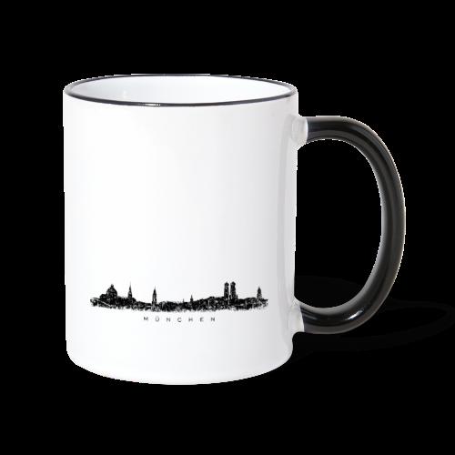 München Skyline (Vintage/Schwarz) Tasse - Tasse zweifarbig