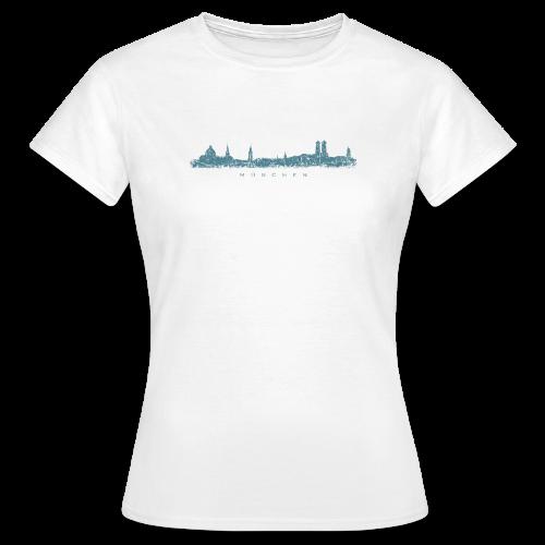 München Skyline (Vintage/Blau) T-Shirt - Frauen T-Shirt