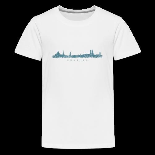 München Skyline (Vintage/Blau) Teenager T-Shirt - Teenager Premium T-Shirt
