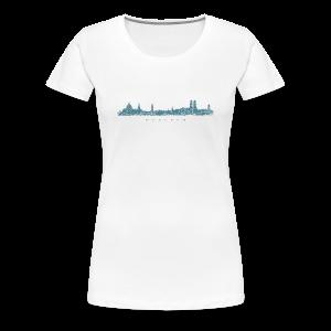 München Skyline (Vintage/Blau) S-3XL T-Shirt - Frauen Premium T-Shirt