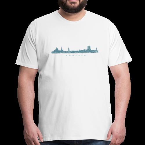 München Skyline (Vintage/Blau) S-5XL T-Shirt - Männer Premium T-Shirt