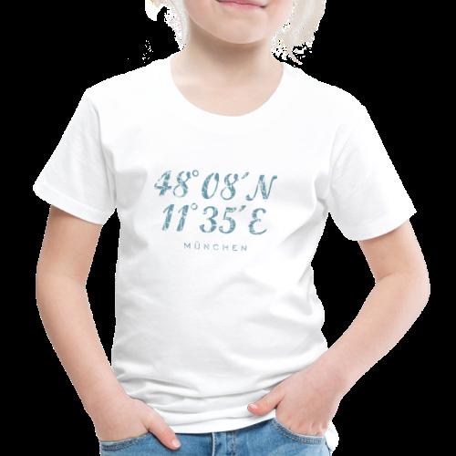 München Koordinaten (Vintage/Blau) Kinder T-Shirt - Kinder Premium T-Shirt