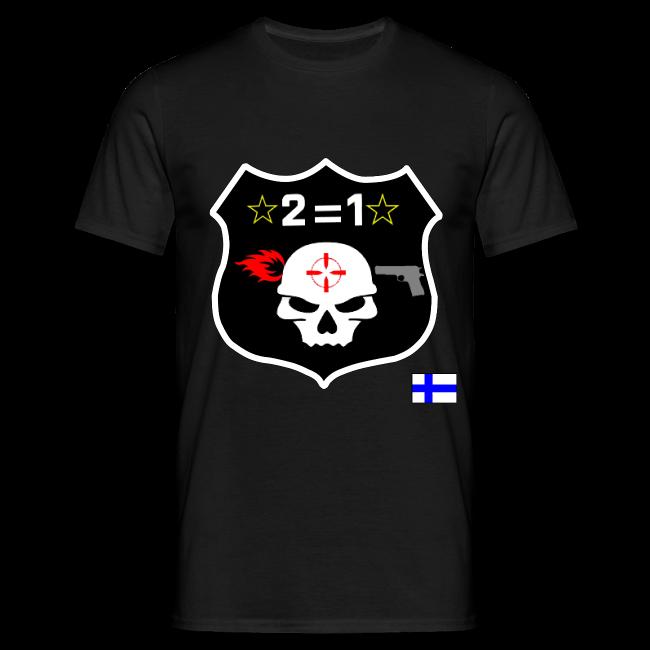 2on1 t-paita, jossa logo paidan rintamuksessa